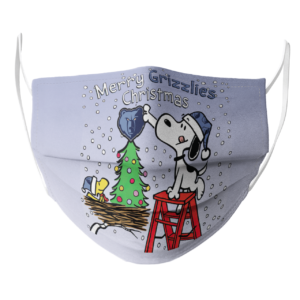 Snoopy and Woodstock Merry Memphis Grizzlies Christmas face mask