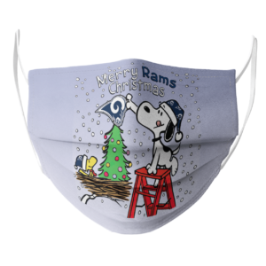 Snoopy and Woodstock Merry Los Angeles Rams Christmas face mask