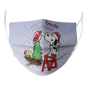 Snoopy and Woodstock Merry New Jersey Devils Christmas face mask