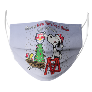 Snoopy and Woodstock Merry New York Red Bulls Christmas face mask