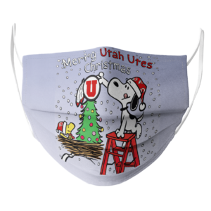 Snoopy and Woodstock Merry Utah Utes Christmas face mask