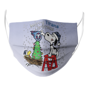 Snoopy and Woodstock Merry Tennessee Titans Christmas face mask