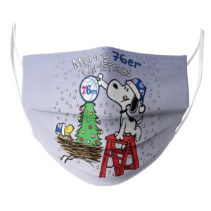Snoopy and Woodstock Merry Philadelphia 76er Christmas face mask