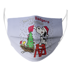 Snoopy and Woodstock Merry Wisconsin Badgers Christmas face mask