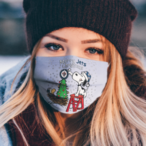 Snoopy and Woodstock Merry Winnipeg Jets Christmas face mask