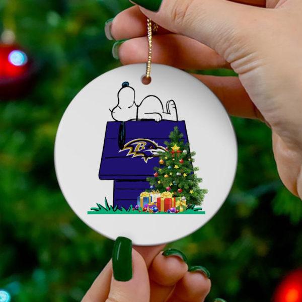 Baltimore Ravens Snoopy Christmas Circle Ornament