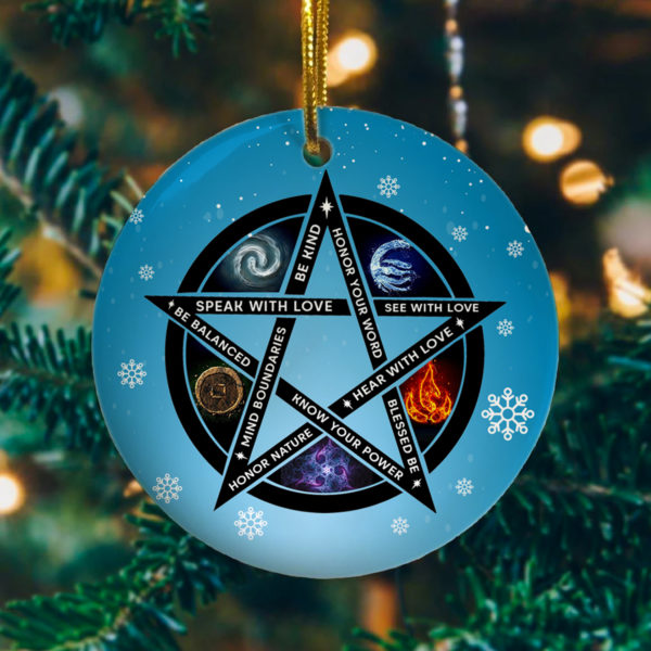 Speak with Love See with Love Be Balanced Know Your Power Pentagram Tree Decoration Christmas Ornament