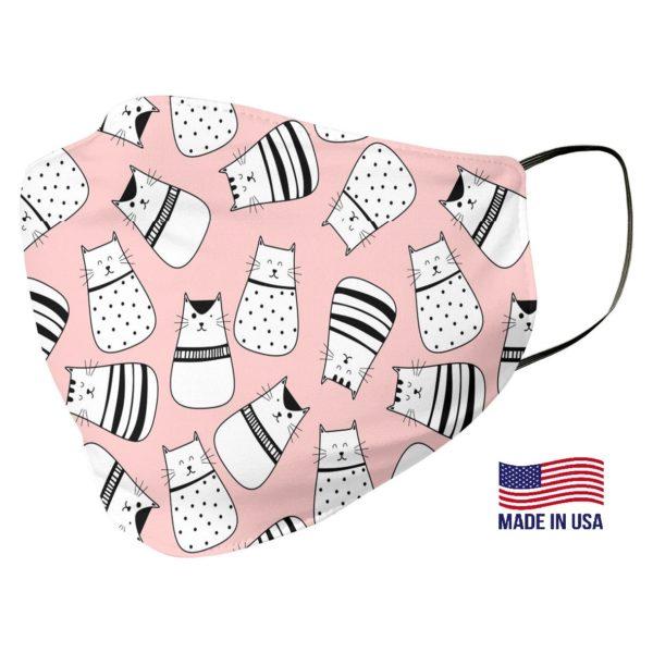 Cat Pattern Pink Face Mask