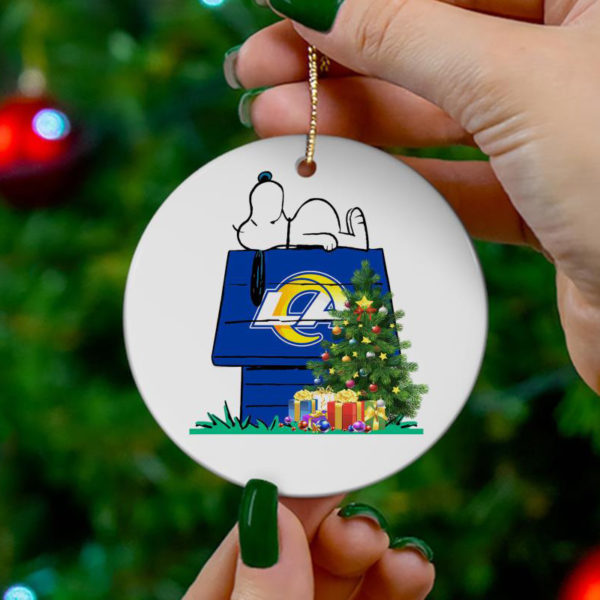 Los Angeles Rams Snoopy Christmas Circle Ornament