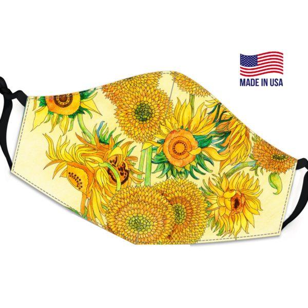 Inspired Sunflower Painting Van Goghs Reusable Face Mask