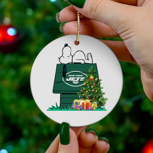 New York Jets Snoopy Christmas Circle Ornament