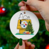 Pittsburgh Steelers Snoopy Christmas Circle Ornament