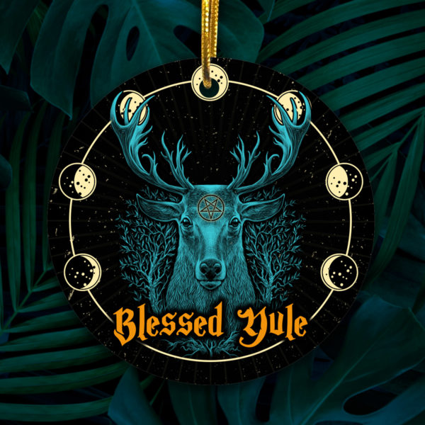 Blessed Yule Deer Pagan Norse Tree Decoration Christmas Ornament