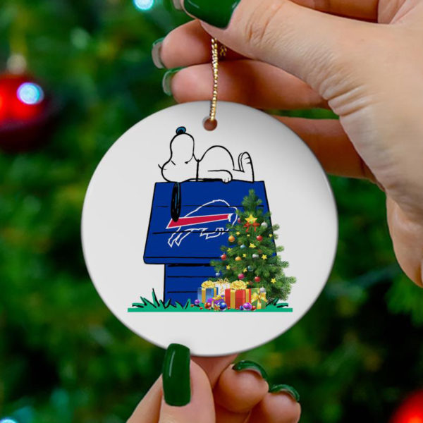 Buffalo Bills Snoopy Christmas Circle Ornament