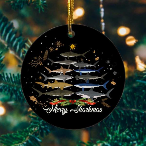 Merry Sharkmas Funny Shark Christmas Tree Decoration Ornament