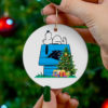 Carolina Panthers Snoopy Christmas Circle Ornament