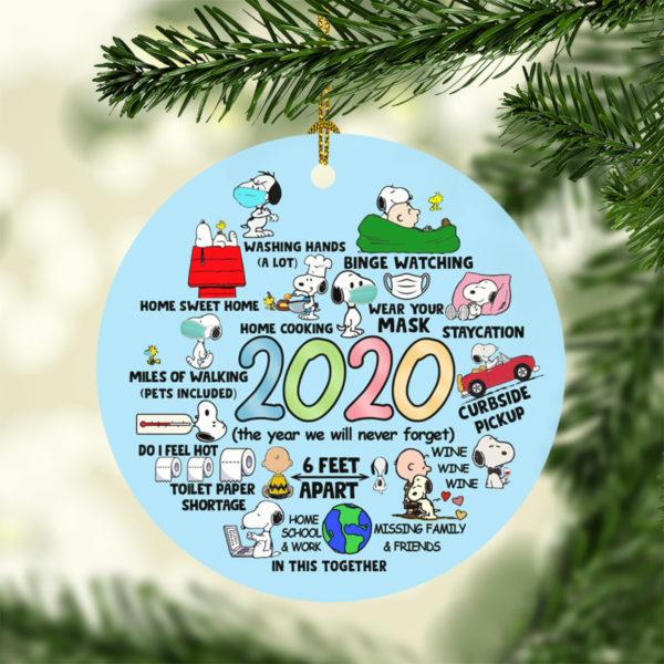 Snoopy Peanuts in Pandemic Quarantine 2020 Tree Decoration Christmas Ornament