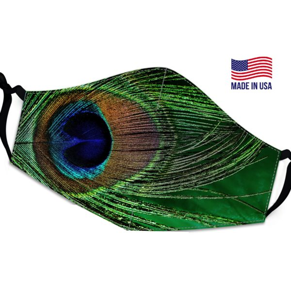 Large Peacock Feather Reusable Face Mask