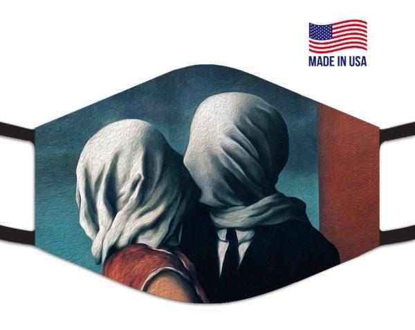 Rene Magritte Famous The Lovers Li Reusable Face Mask
