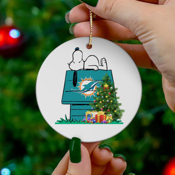 Miami Dolphins Snoopy Christmas Circle Ornament