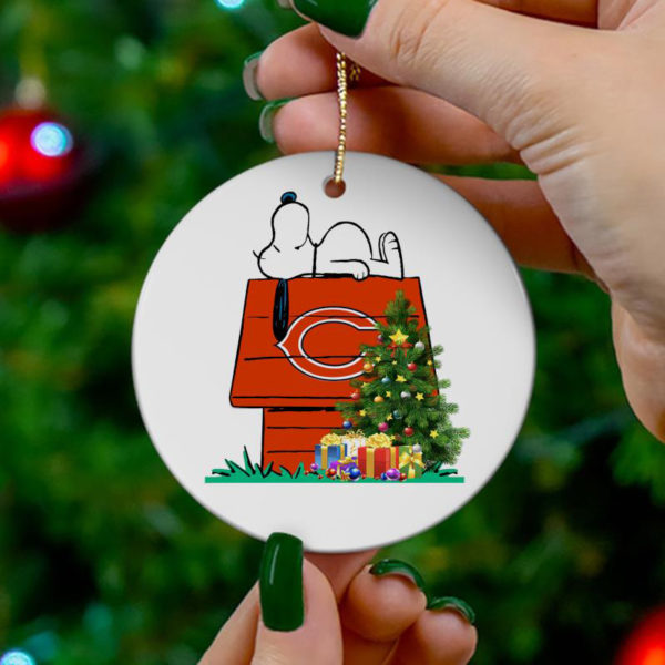 Chicago Bears Snoopy Christmas Circle Ornament