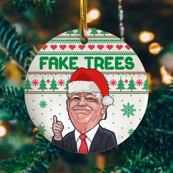 Fake Trees Red Tie Trump Christmas Trump for President No Joe Biden Christmas Tree Ornament