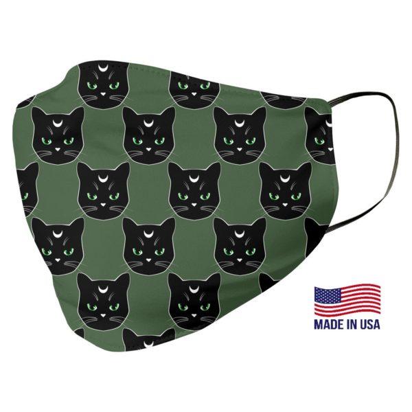 Black Cat Pattern Green Face Mask