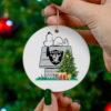 Oakland Raiders Snoopy Christmas Circle Ornament