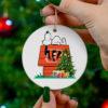 Cincinnati Bengals Snoopy Christmas Circle Ornament