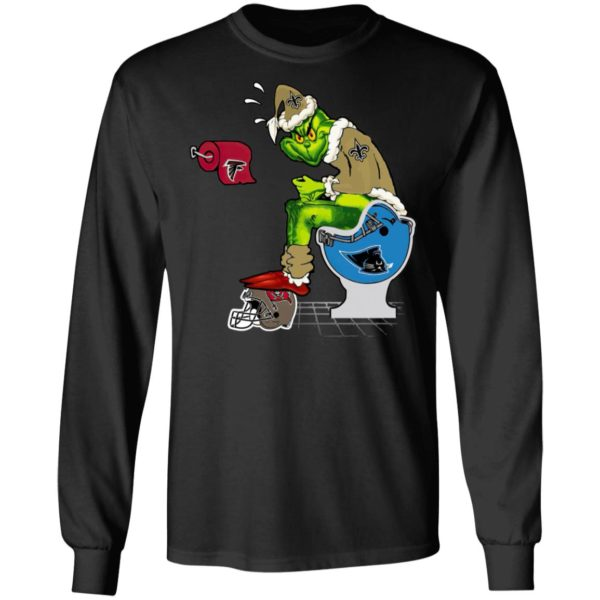 Santa Grinch New Orleans Saints Shit On Other Teams Christmas Sweater, Shirt