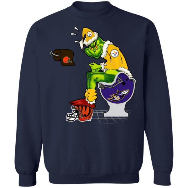 Santa Grinch Pittsburgh Steelers Shit On Other Teams Christmas Sweater, Shirt