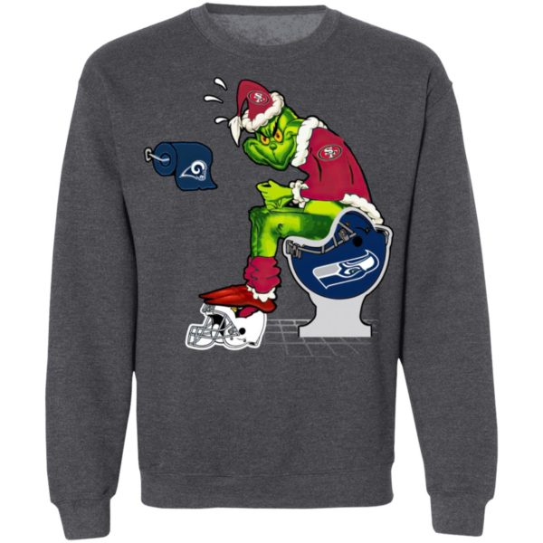 Santa Grinch San Francisco 49ers Shit On Other Teams Christmas Sweater, Shirt