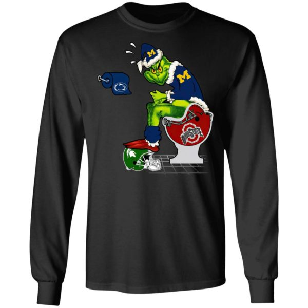 Santa Grinch Michigan Wolverines Shit On Other Teams Christmas Sweater, Shirt
