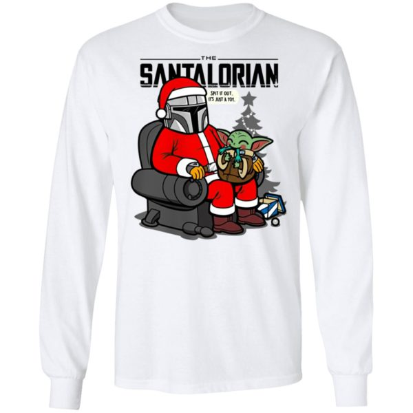 The santalorian and baby yoda spit it out its just a toy christmas 2020 shirt