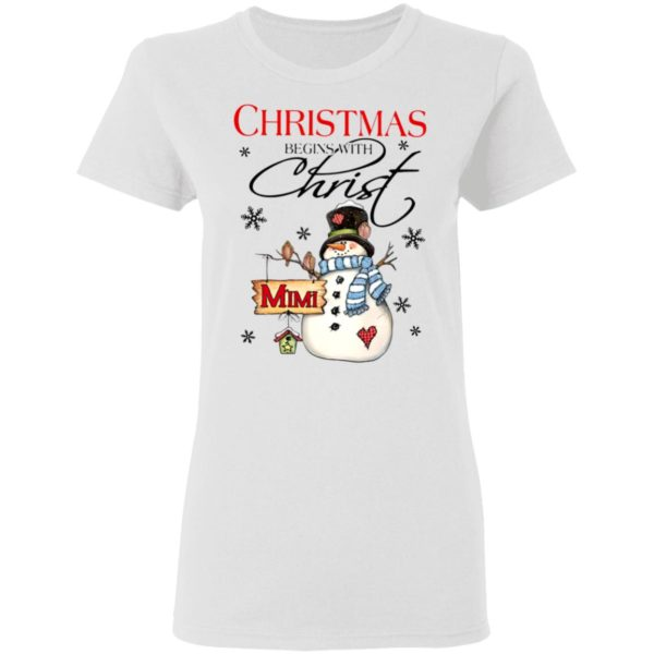Snowman Mimi Christmas Begins With Christ Christmas Sweatshirt
