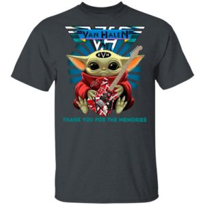 Baby Yoda Hug Guitar Eddie Van Halen Thank You For The Memories Signature Shirt