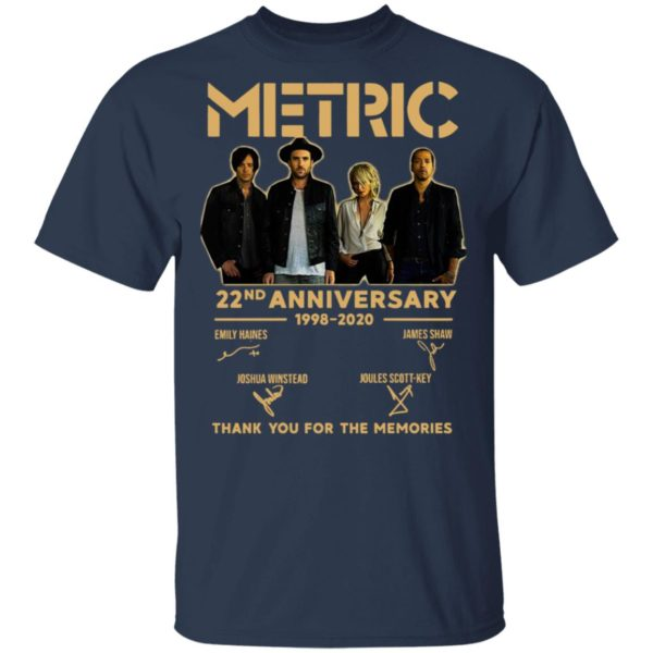 Metric 22nd Anniversary 1998 2020 Thank You For The Memories Signatures Shirt