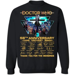 Doctor Who 58th Anniversary 1963 2021 Thank You For The Memories Signatures Shirt