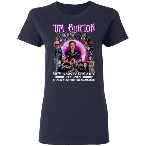 Tim Burton 50th Anniversary 1971 2021 Thank You For The Memories Signatures Shirt