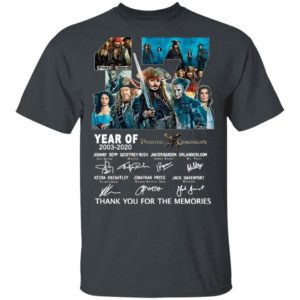 17 Years Of Pirates Caribbean 2003 2020 Thank You For The Memories Signatures Shirt
