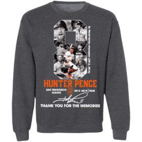 8 Hunter Pence San Francisco Giants 2012 2018 Thank You For The Memories Signature Shirt