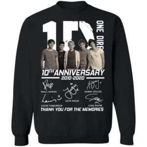 Official One Direction 10th anniversary 2010 2020 thank you for the memories Shirt