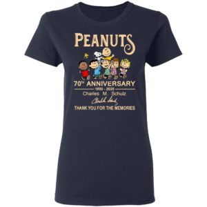 Peanuts 70th Anniversary 1950 2020 Thank You For The Memories Signatures Shirt
