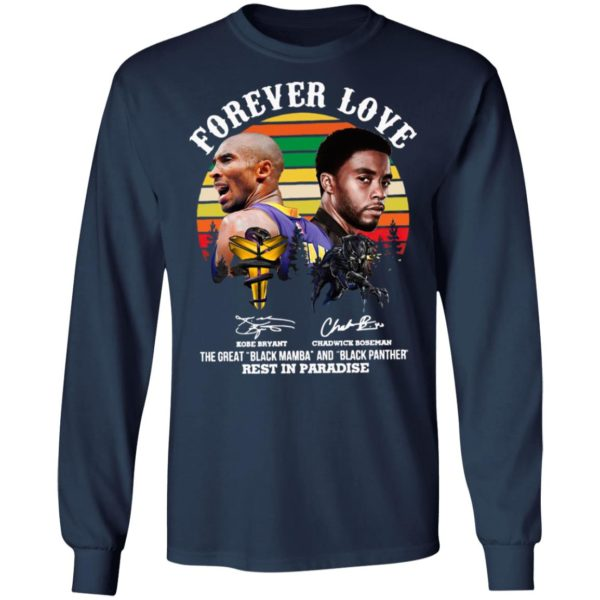 Forever Love Kobe Bryant Chadwick Boseman The Great Black Mamba And Black Panther Rest In Paradise Signatures Vintage Shirt