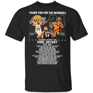 Thank you for the memories legends never die Kobe Bryant title collections Shirt