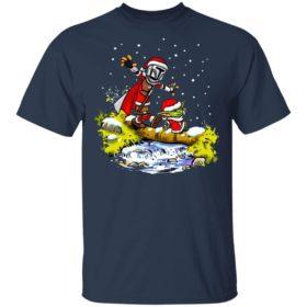 Baby Yoda Walking Under The Snow Christmas Shirt