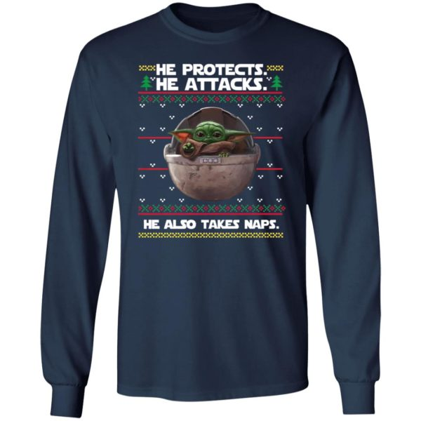 Baby Yoda He protects he also takes naps Christmas Sweatster