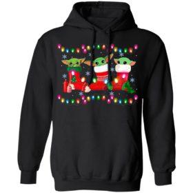Baby Yoda In Stock Merry Christmas Light Shirt