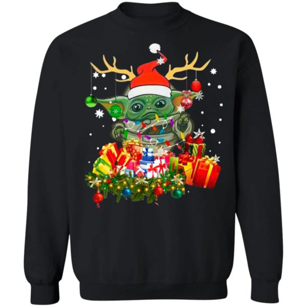 Baby Yoda Hat Santa Reindeer Gift Christmas Sweatshirt