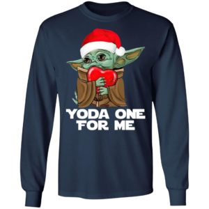 Santa Baby Yoda One For Me Hug Heart Christmas Shirt